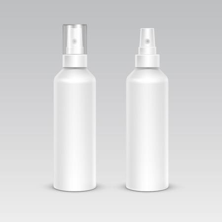 bottle nose: Spray Bottle White Plastic Packaging Container Set Illustration