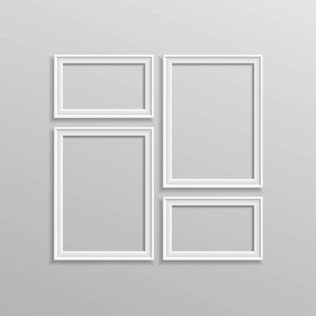 photo frames: Vector Blank Picture Frame Template Composition