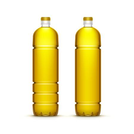 corn flower: Vector Plastic Sunflower Olive Oil Blank Bottle