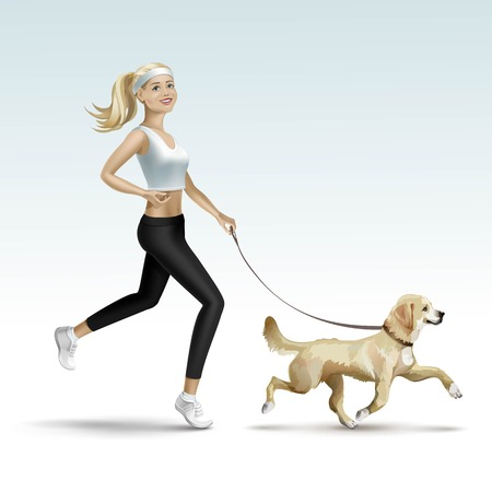 woman girl: Blonde Woman Girl Female Jogging with Dog Illustration