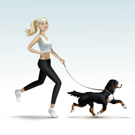 leggings: Fille Blonde Woman Jogging Femme avec chien Illustration