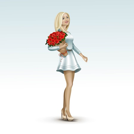 cartoon bouquet: Blonde Woman Girl in Dress with Flowers