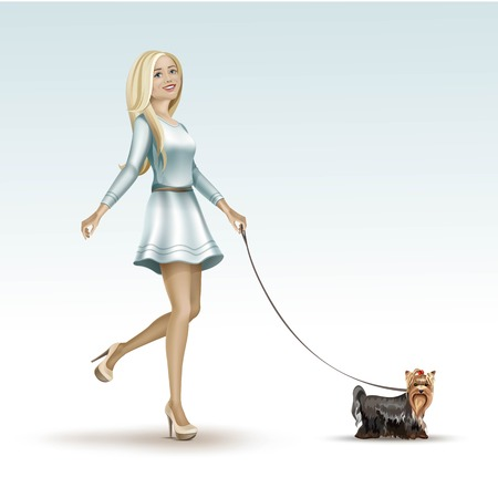 dog walking: Blonde Woman Girl in Fashion Dress Walking the Dog