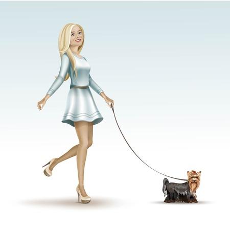 Blonde Woman Girl in Fashion Dress Walking the Dog
