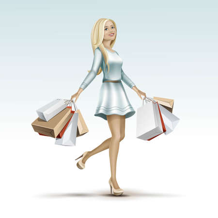 woman girl: Blonde Woman Girl in Dress with Shopping Bags Illustration