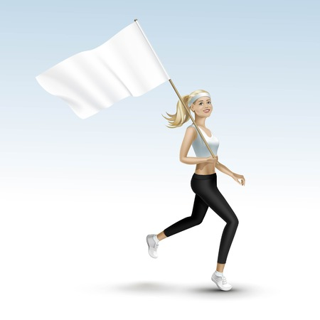femmes souriantes: Fille blonde femme courir jogging avec un drapeau