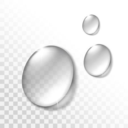 fondo transparente: Gotas de agua conjunto aislado en el fondo transparente Vectores
