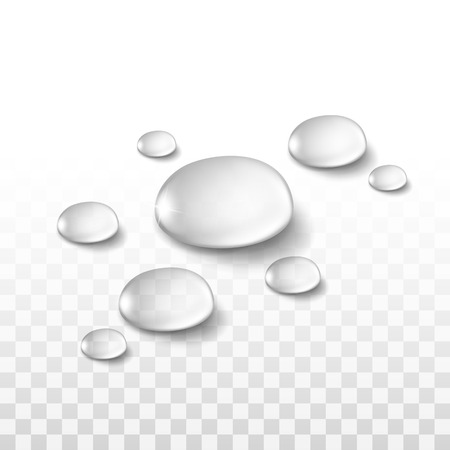 fresh water: Water Drops Set Isolated on Transparent Background