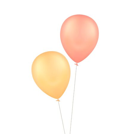 Vector Yellow Red Balloons Isolated Background