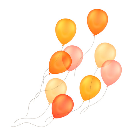 Vector Orange Yellow Balloons Isolated Background Vettoriali