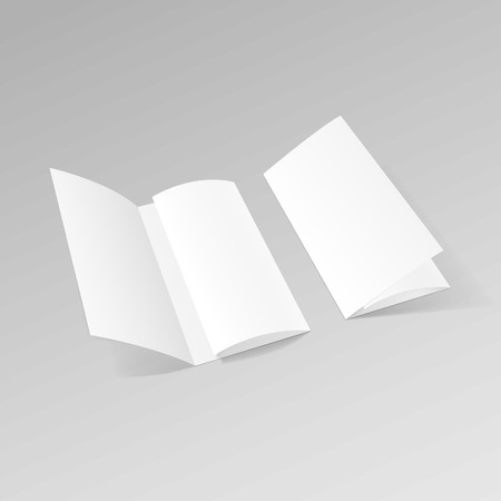 White Trifold Brochure Leaflet Zigzag Folded Flyer 일러스트