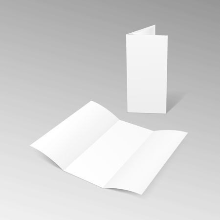 White Trifold Brochure Leaflet Zigzag Folded Flyer Vectores