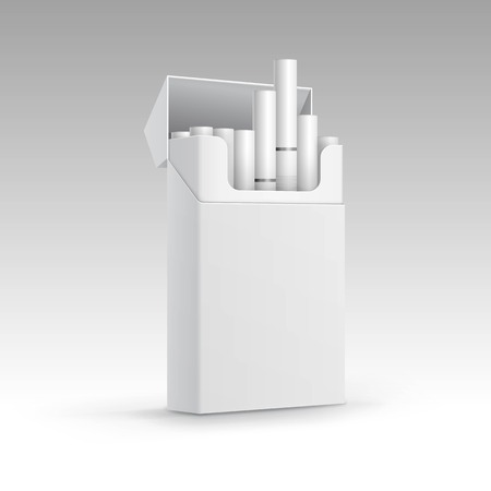 baccy: Opened Pack of Cigarettes Isolated on Background Illustration