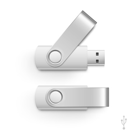 usb disk: USB Flash Drive Stick Memory Vector Set Isolated