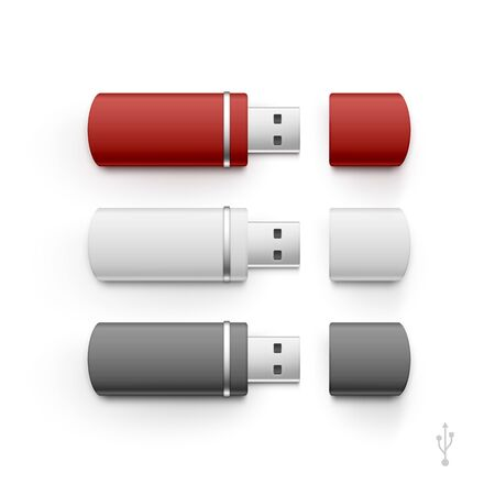 pocket pc: USB Flash Drive Stick Memory Vector Set Isolated