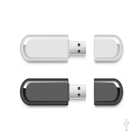 computer memory: USB Flash Drive Stick Memory Vector Set Isolated