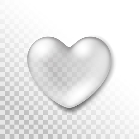 Vector Realistic Water Heart Drop Isolated on Transparent Background Illustration