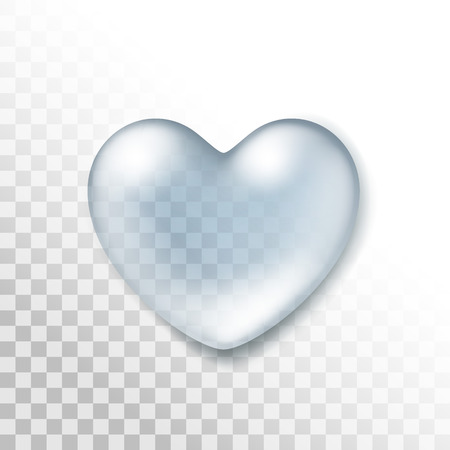 Vector Realistic Water Heart Drop Isolated on Transparent Background Vectores