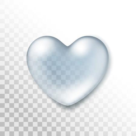 Vector Realistische Water Hart druppel op Transparante Achtergrond Stock Illustratie