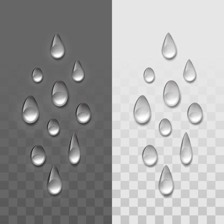 fondo transparente: Vector gotas de agua realistas conjunto aislado en el fondo transparente