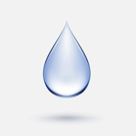 Vector Blue Water Drop Icon Isolated on Background Çizim
