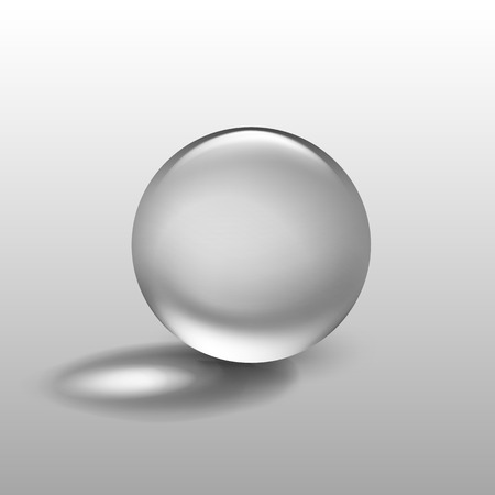 liquid crystal: Vector Realistic Water Glass Sphere Ball Isolated on Background