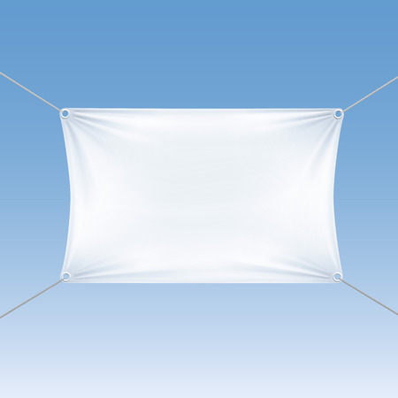 nylon: White Blank Empty Horizontal Rectangular Banner with Corners Ropes. Textile, Fabric or Nylon with Folds. Vector Illustration Isolated on Blue Background. Ready Template for Your  , Text and Design