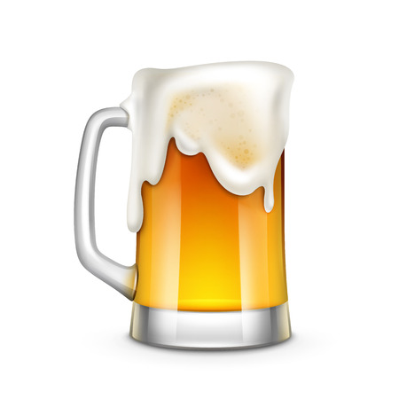 yellow to drink: Beer Glass Vector Illustration Isolated on White Background Illustration