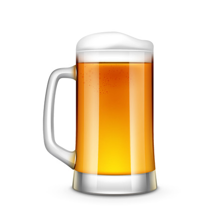 Beer Glass Vector Illustration Isolated on White Background 일러스트