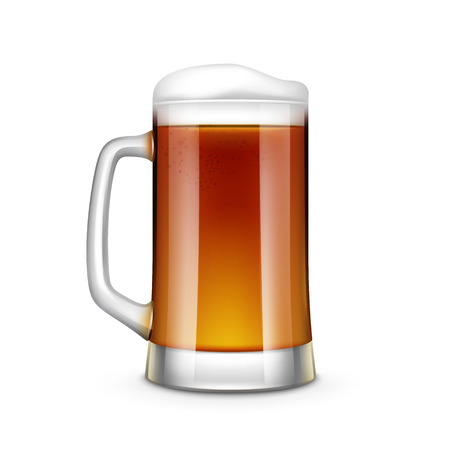 beer icon: Beer Glass Vector Illustration Isolated on White Background Illustration