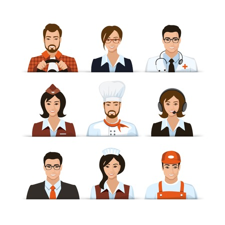 doctor vector: Flat Driver Secretary Physician Doctor Businnes Airport Stewardess Cook Operator Consultant Builder Profession Characters Set Isolated Vector Illustration