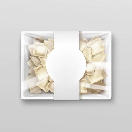 packaging box: Pelmeni Meat Dumplings Ravioli Tortellini Packaging Package Pack Template Isolated Vector Illustration