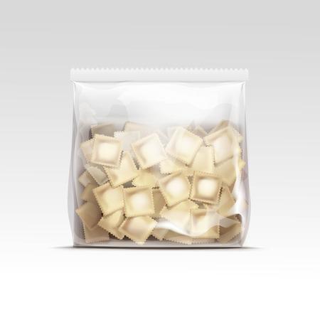Pelmeni Meat Dumplings Ravioli Tortellini Packaging Package Pack Template Isolated Vector Иллюстрация
