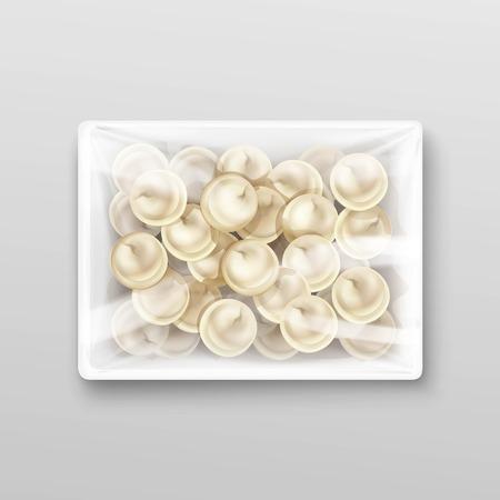 europe closeup: Pelmeni Meat Dumplings Ravioli Tortellini Packaging Package Pack Template Isolated Vector Illustration
