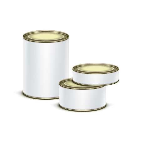 groat: White tin box packaging container set for tea, coffee or canned tinned preserves food isolated vector illustration