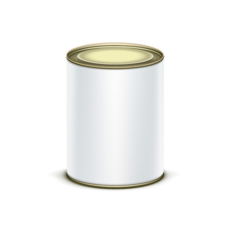 container box: White tin box packaging container for tea or coffee isolated vector illustration