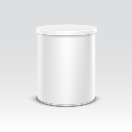 product packaging: White tin box packaging container for tea or coffee isolated vector illustration