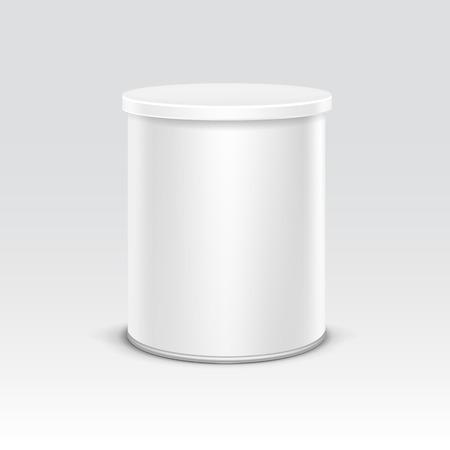 Witte blikken doos verpakking container voor thee of koffie geïsoleerd vector illustratie