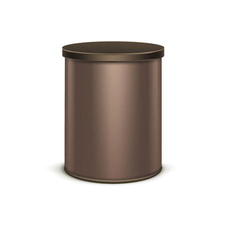 brown box: Brown tin box packaging container for tea or coffee isolated vector illustration