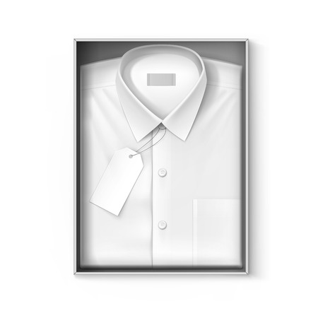 ironed: White classic men shirt with label in the packaging box isolated vector illustration Illustration