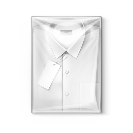 folded clothes: White classic men shirt with label in the transparent packaging box isolated vector illustration
