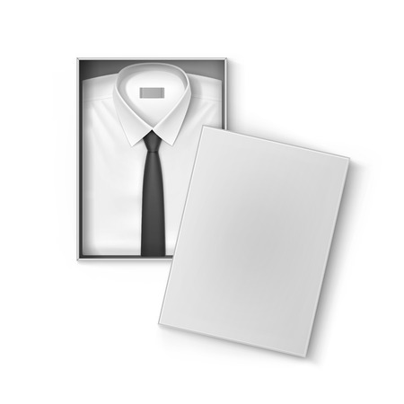 men shirt: White classic men shirt with black tie in the packaging box isolated vector illustration