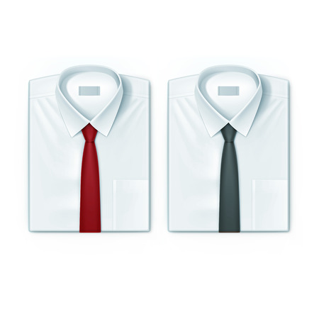ironed: Classic men shirts set with red and black ties isolated vector illustration