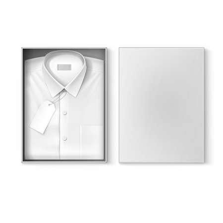 White classic men shirt with label in the packaging box isolated vector illustration Vettoriali