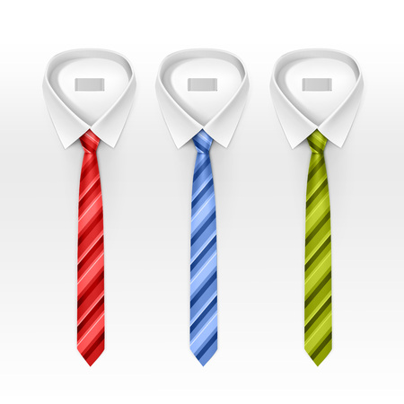 tied: Set of Tied Striped Colored Silk Ties and Bow Ties Collection Vector Realistic Illustration Isolated on White Background
