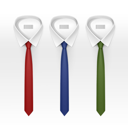 by the collar: Set of Tied Striped Colored Silk Ties and Bow Ties Collection Vector Realistic Illustration Isolated on White Background