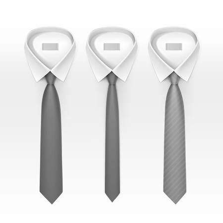 ties: Set of Tied Striped Colored Silk Ties and Bow Ties Collection Vector Realistic Illustration Isolated on White Background