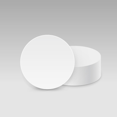 illustration isolated: White Round Blank Beer Coasters Vector Isolated Illustration