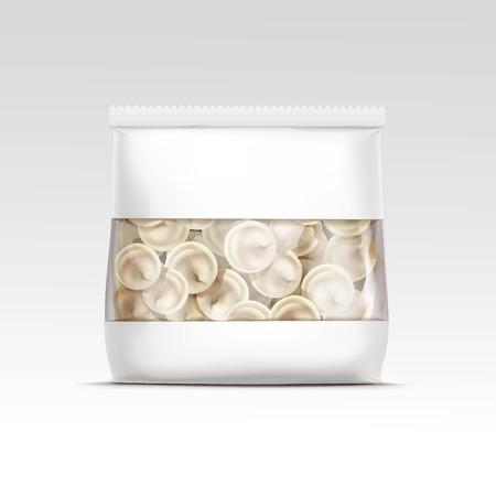 cellophane: Pelmeni Meat Dumplings Ravioli Tortellini Packaging Package Pack Template Isolated Vector Illustration