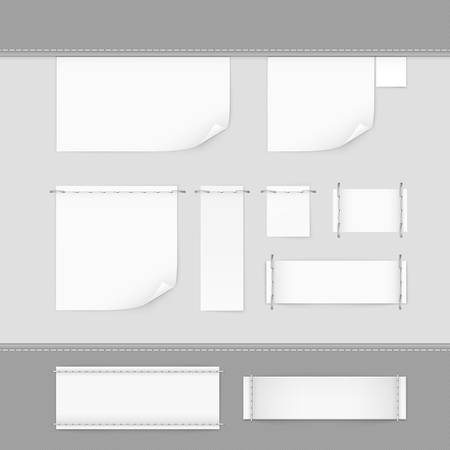 paper tag: Label Tag Stitch Set White Vector Isolated